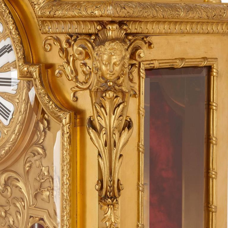 Bronze Large French Antique Ormolu Mantel Clock by Ferdinand Barbedienne