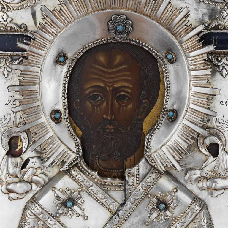 Jewelled Parcel Gilt And Silver Russian Icon Of St