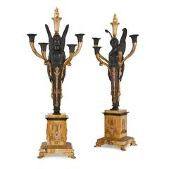 Pair of Empire Gilt and Patinated Bronze Candelabra
