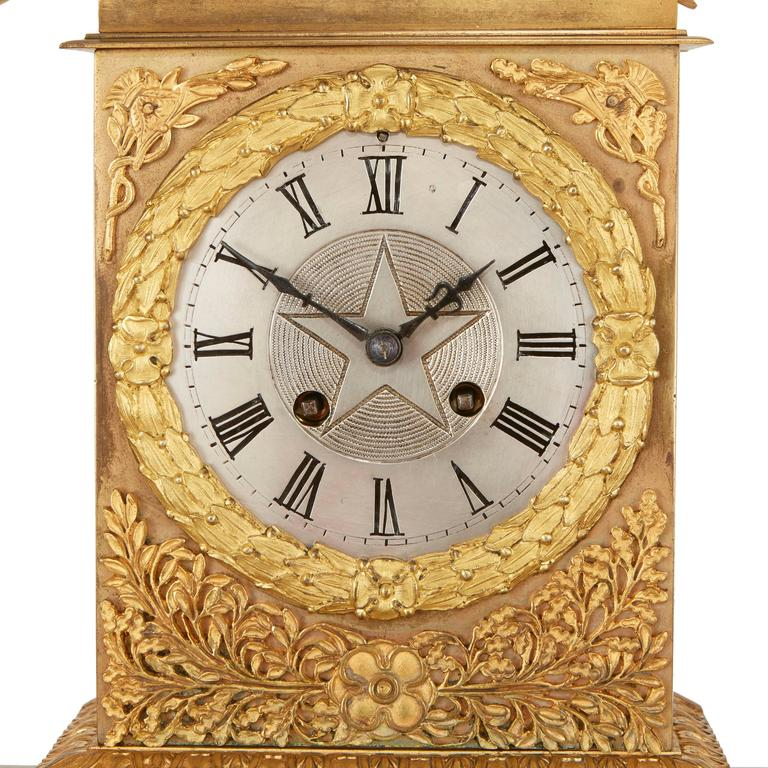 Neoclassical Empire Style Ormolu Clock Set Depicting the Oath of the Horatii For Sale
