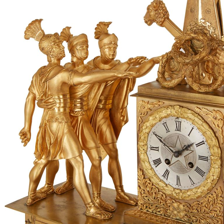French Empire Style Ormolu Clock Set Depicting the Oath of the Horatii For Sale