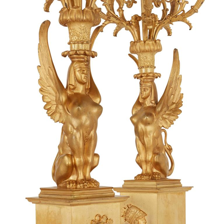 19th Century Empire Style Ormolu Clock Set Depicting the Oath of the Horatii For Sale