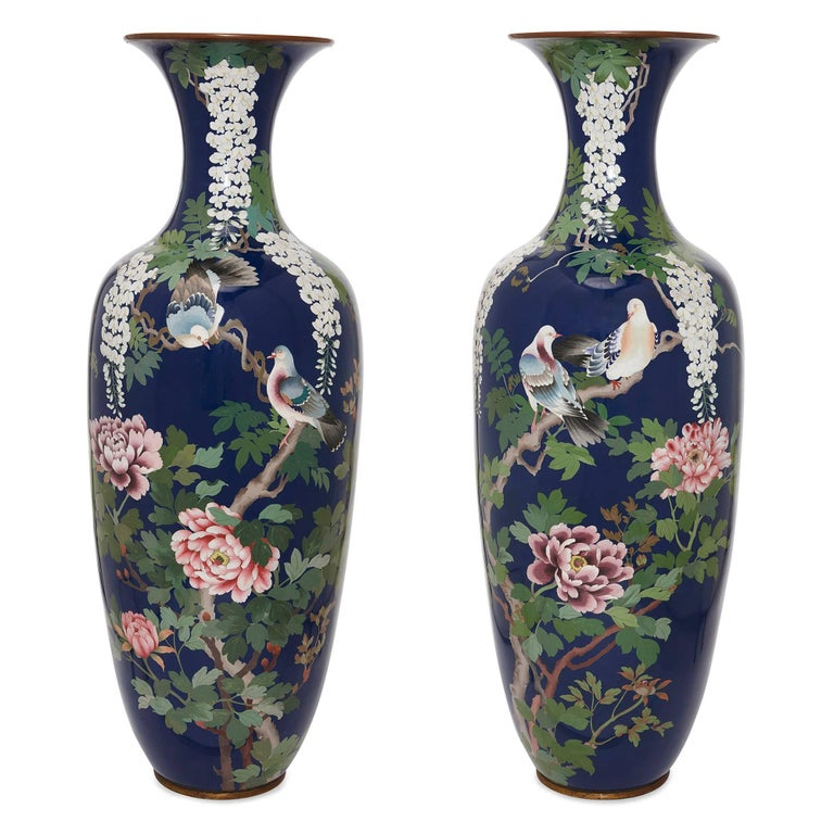 Pair Of Very Large Ormolu Mounted Chinese Cloisonn Enamel Vases For