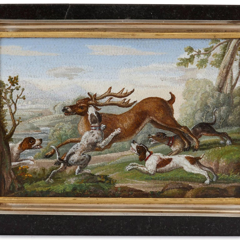 Antique Silver Gilt Mounted Italian Hunting Scene Micromosaic Snuff Box In Excellent Condition For Sale In London, GB