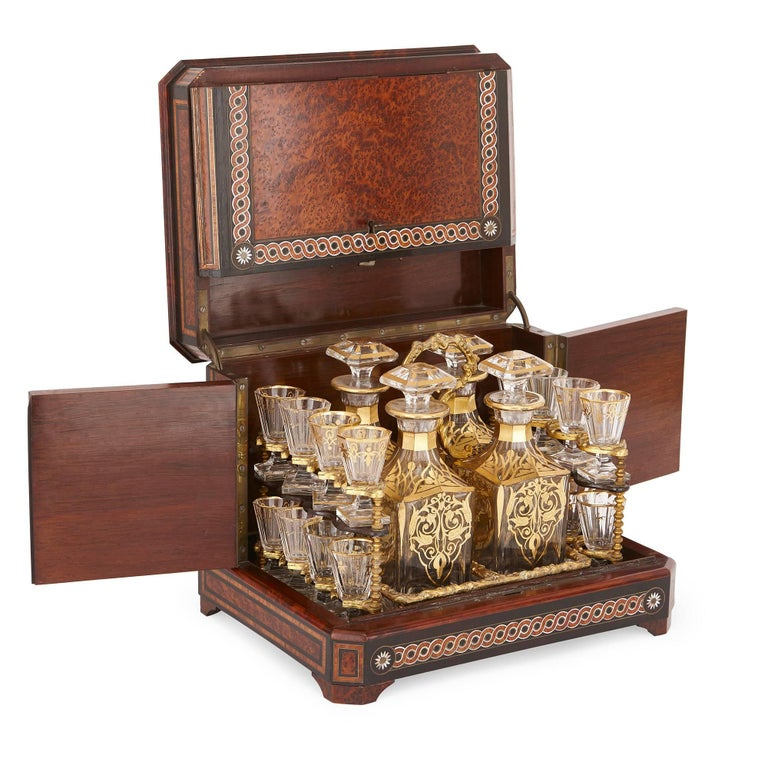 Baroque Antique Cut-Glass Liquor Set in Birdseye Maple Marquetry Box For Sale