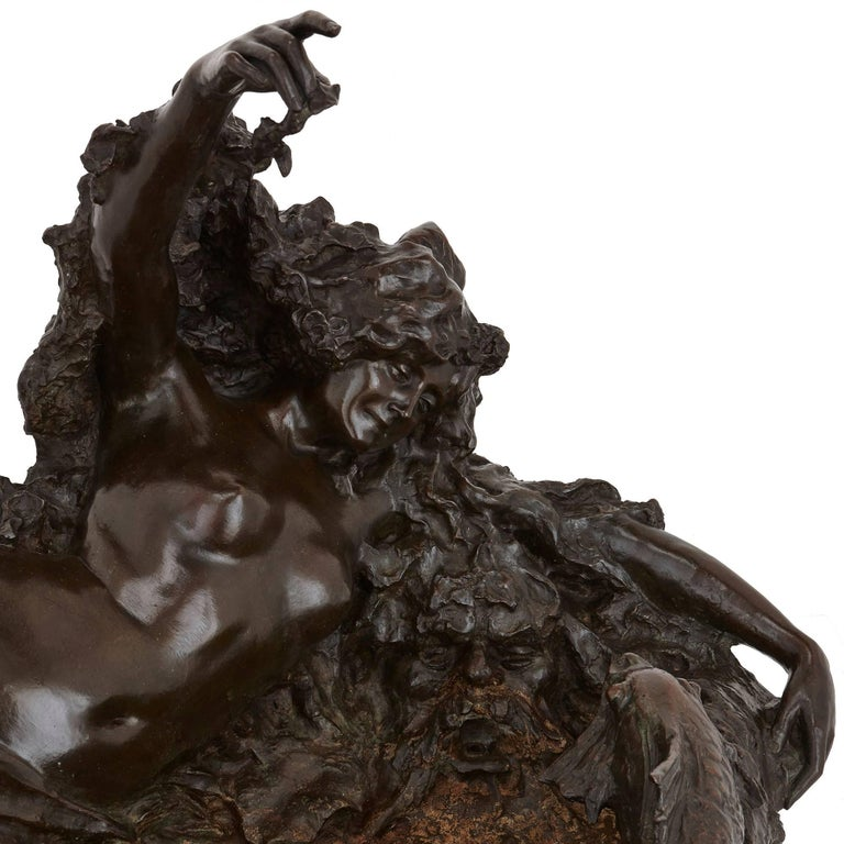 20th Century Large Art Nouveau Period Antique Fountain in Patinated Bronze For Sale