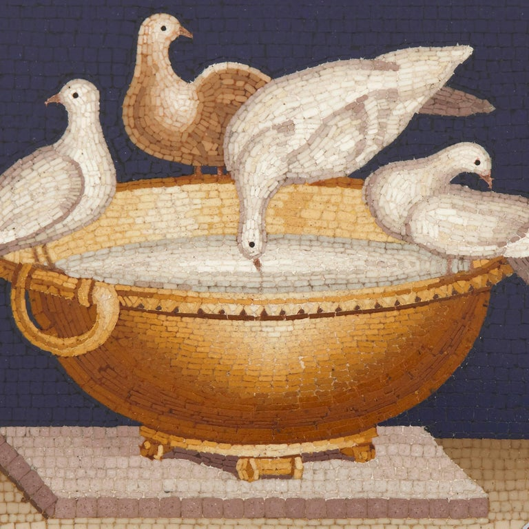 Doves For Sale >> Antique Italian Micromosaic Plaque Depicting The Capitoline Doves