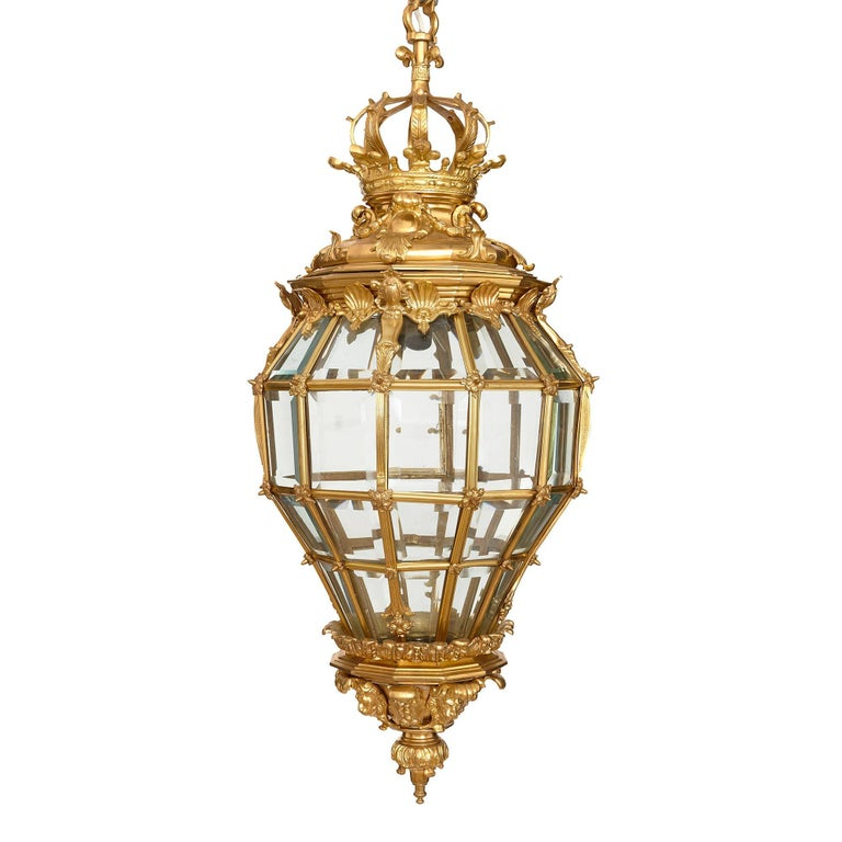 Very Large French Ormolu and Bevelled Glass Lantern For Sale