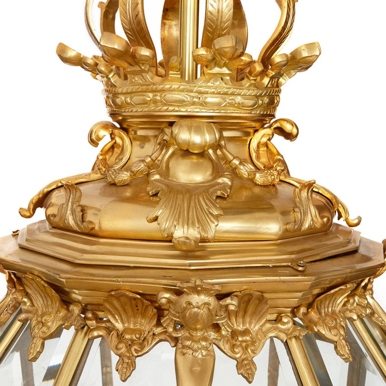Neoclassical Very Large French Ormolu and Bevelled Glass Lantern For Sale