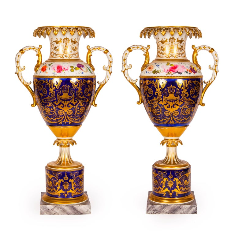 Antique Pair Of Royal Worcester Porcelain And Gilt Urns For Sale At