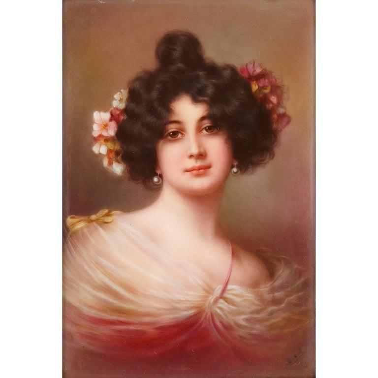 Belle Époque 19th Century Painted Porcelain Plaque, with Portrait of a Lady For Sale