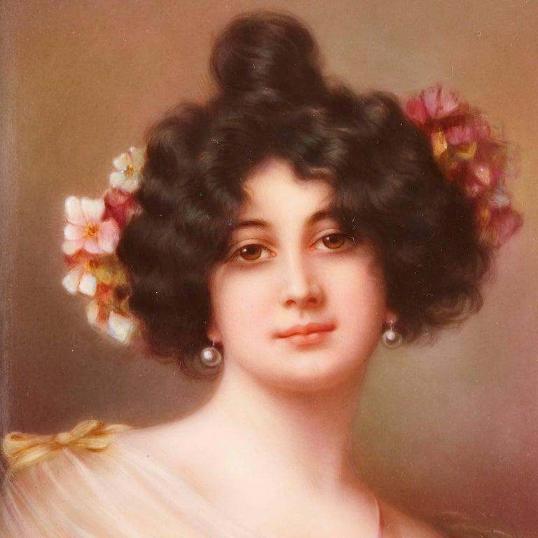 Gilt 19th Century Painted Porcelain Plaque, with Portrait of a Lady For Sale