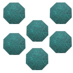 Set of Six Faux Malachite Placemats by Imperial Stone USA 1980s