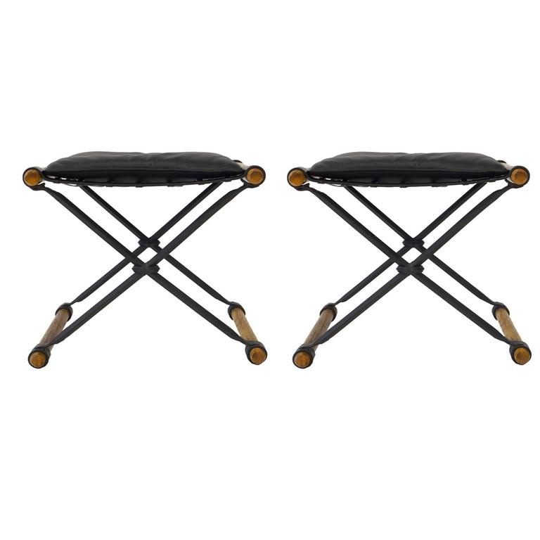 Cleo Baldon X-Benches Leather Oak Wrought Iron Pair, USA, 1960s