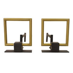 Donald Deskey Style Andirons, Brass Buckle