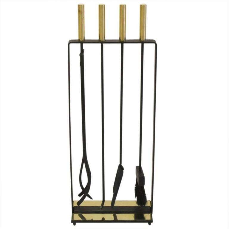 View this item and discover similar fireplace tools and chimney pots for sale at 1stdibs - Pilgrim Fireplace Tools Brass and Wrought Iron Signed USA 1970s. In gently used original condition. Minor discoloration to one of the lacquered brass