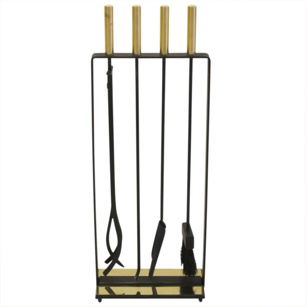 Pilgrim Fireplace Tools Brass And Wrought Iron Signed Usa 1970s For Sale At 1stdibs