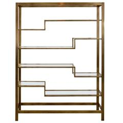 Etagere Bronzed Toned Steel and Glass by Baker, USA, 1970s