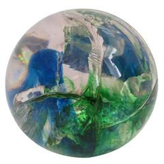 Fractured Resin Sphere Clear, Green and Blue, France, 1970s