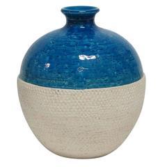 Bitossi Ceramic Vase Rimini Blue White Embossed, Italy, 1960s