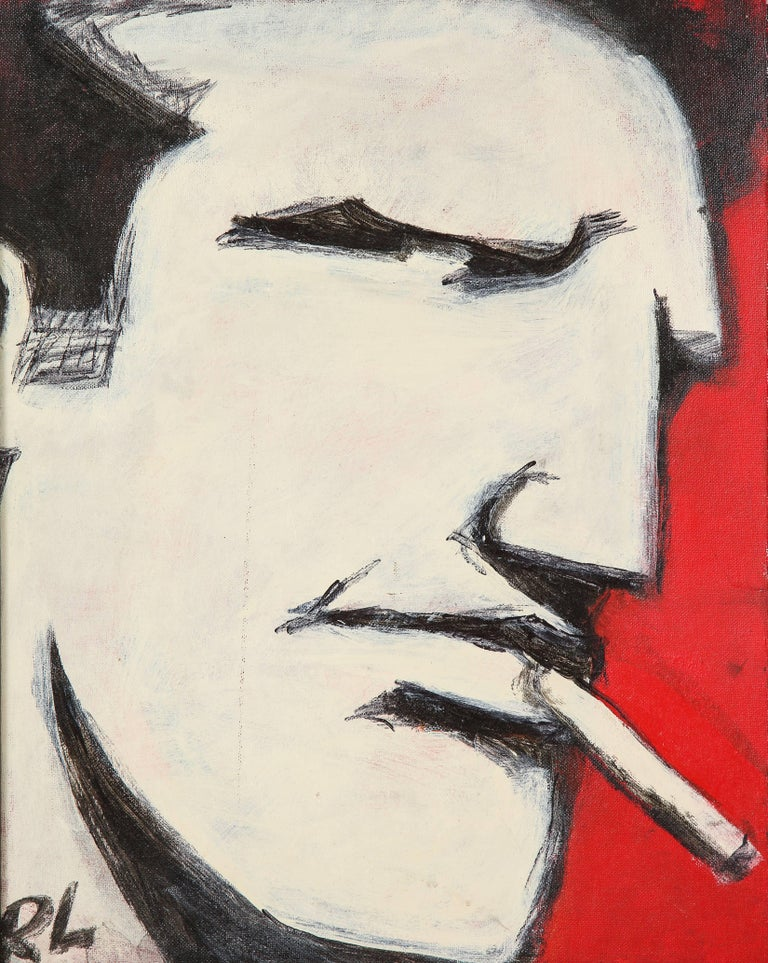Robert Loughlin Billy beer, painting on canvas panel, white, black, red, signed. Robert Loughlin, 1949-2011. A right profile Brute portrait executed with enamel paint on a 16