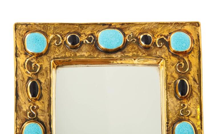 Spiegel Mit Goldrahmen Und Keramik Details Signiert Von Francois