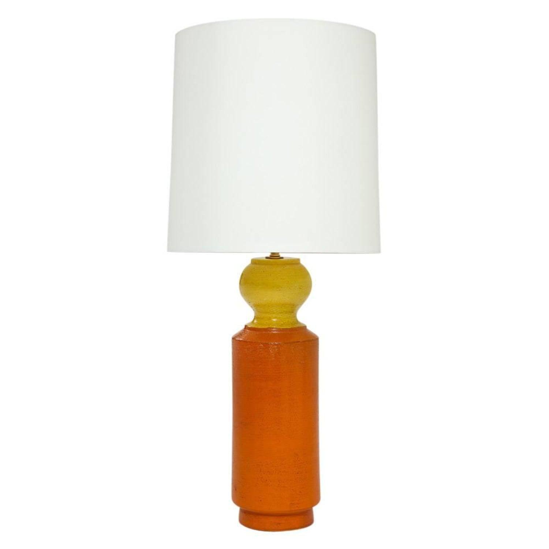 Bitossi Ceramic Table Lamp Orange Yellow Signed Italy 1960s For
