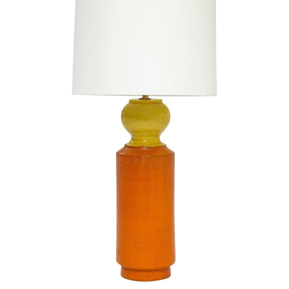 Bitossi Ceramic Table Lamp Orange Yellow Signed Italy, 1960s