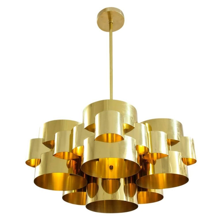 C. Jere brass Cloud chandelier. Medium to large scale five light lacquered brass cloud form chandelier with original patina to the brass. The chandelier uses 5 Regular bulbs @ 60 watts or you can go up to 75 watt LED's but LED's have to be