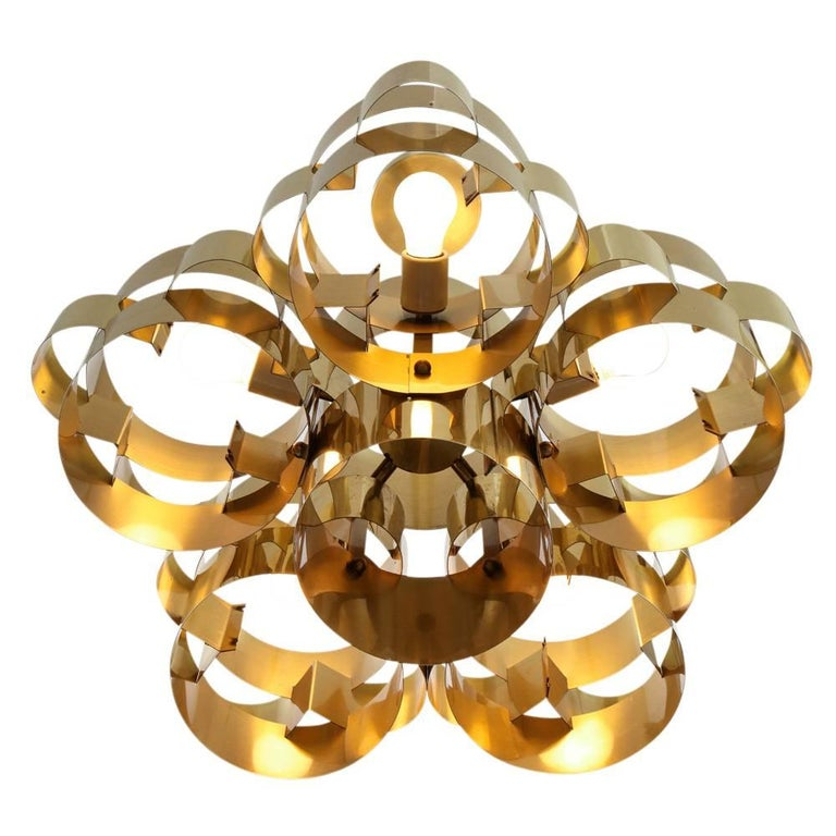 Late 20th Century C. Jere Brass Cloud Chandelier For Sale