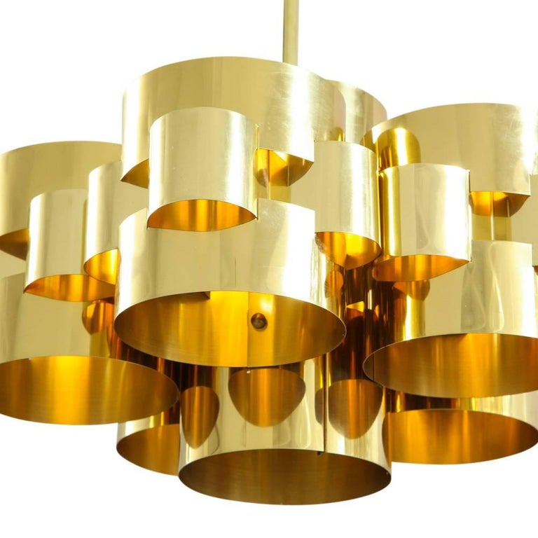 Lacquered C. Jere Brass Cloud Chandelier For Sale