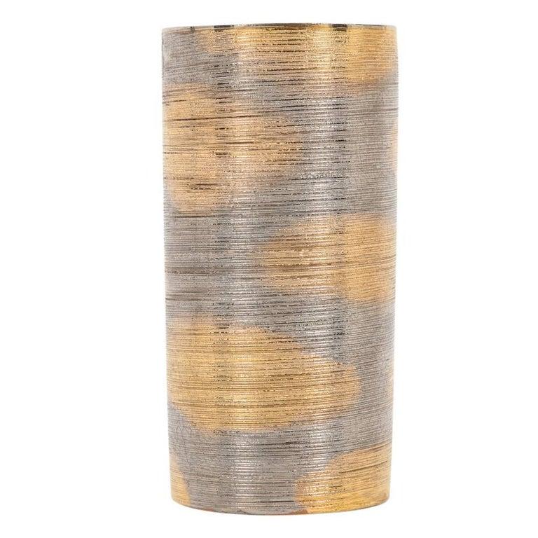 Mid Century Modern Bitossi Raymor Ceramic Vase Brushed Metallic Gold Chrome Signed Italy