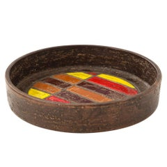 Bitossi Ceramic Bowl Tray Geometric Yellow Red Brown, Italy, 1960s