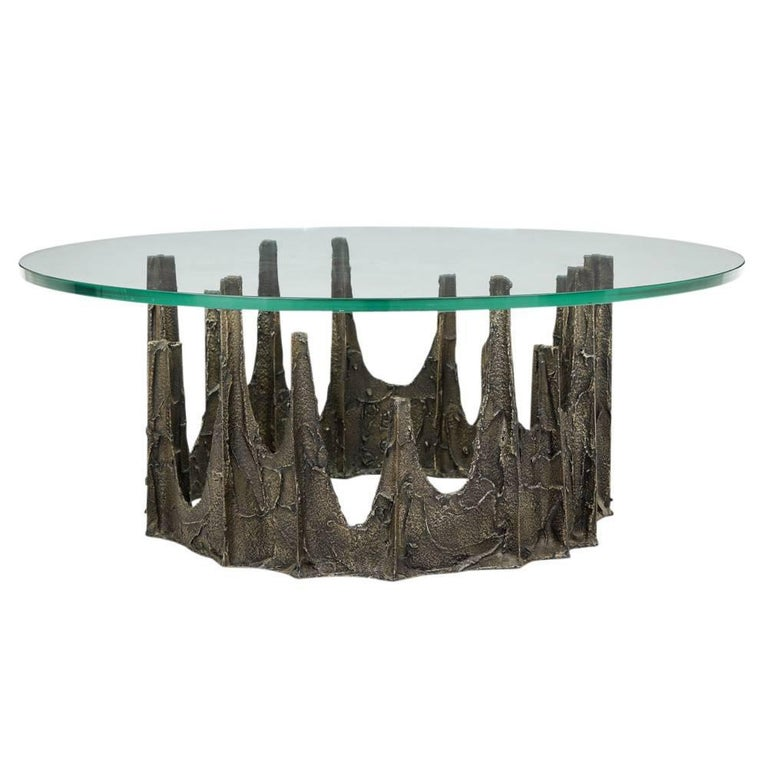 Mid-Century Modern Paul Evans Cocktail Table Sculpted Bronze Glass Signed, USA, 1960s For Sale
