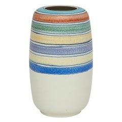 Raymor Bitossi Ceramic Vase Stripes Bagni Signed, Italy, 1960s