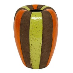 Bitossi Italian Ceramic Vase Stripes Signed, Italy, 1960s
