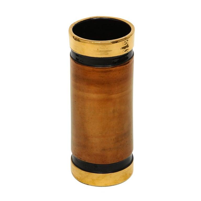 Rosenthal Netter Bitossi Vase Gold Copper Metallic Signed Italy