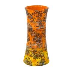 Bitossi Raymor Ceramic Vase Orange Yellow Camouflage Signed Italy, 1960s