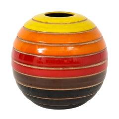 Bitossi Ceramic Vase Spherical Stripes Signed, Italy, 1960s