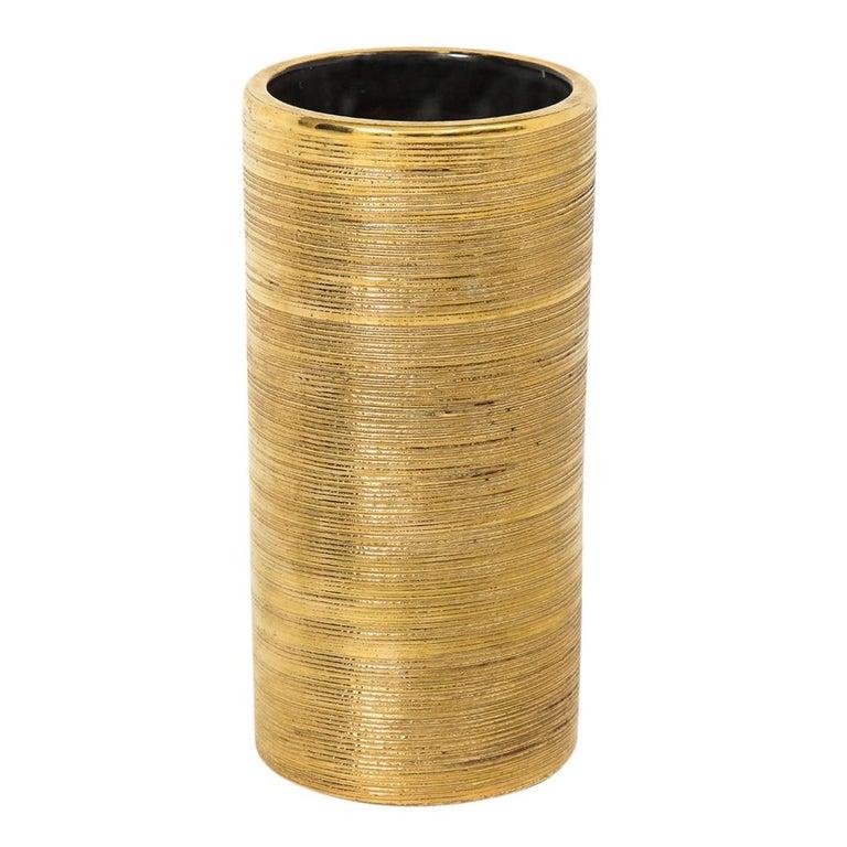Bitossi Ceramic Cylinder Vase Brushed Gold Pottery Italy 1960s For