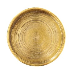 Bitossi Ceramic Pottery Bowl Brushed Gold, Italy, 1960s