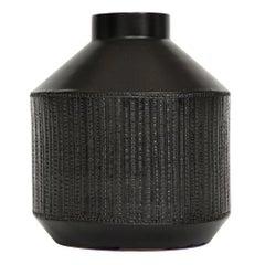 Bitossi Raymor Ceramic Vase Matte Black Beaded Signed, Italy, 1960s