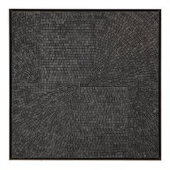 Aleksandra Kasuba Abstract Black Marble Pebble Mosaic Signed, USA, 1960s