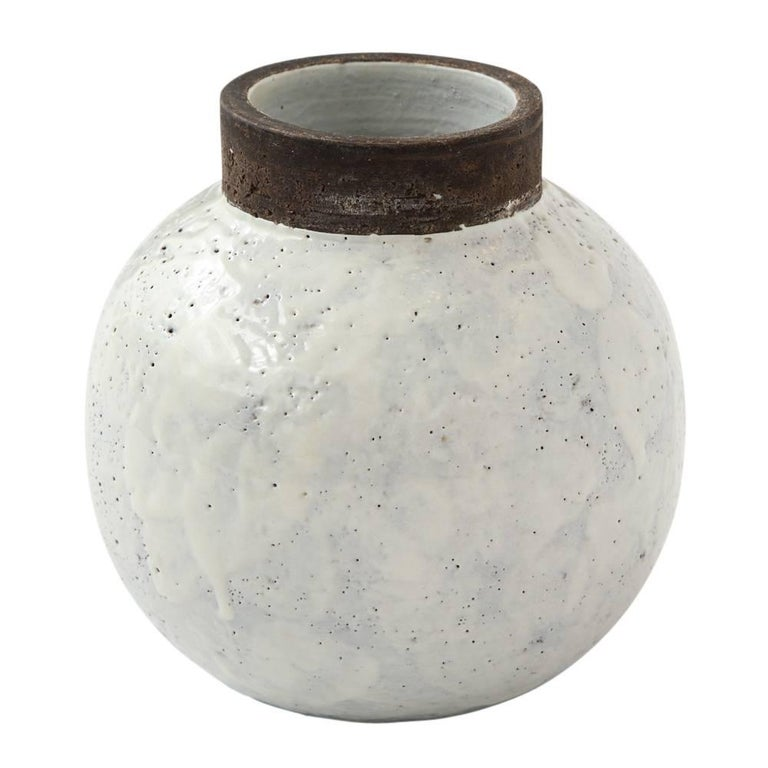 Bitossi Ceramic Vase White Brown Round Pottery Signed Italy 1960s
