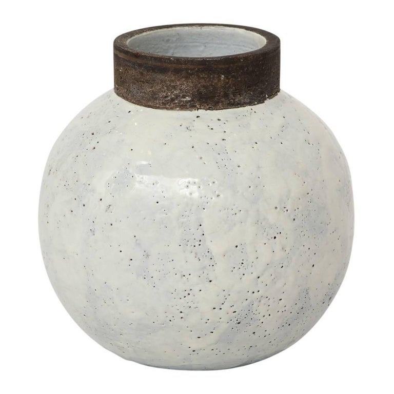 Bitossi Ceramic Vase White Brown Round Pottery Signed, Italy, 1960s