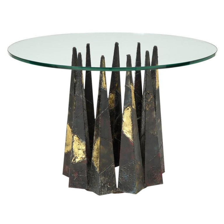 Paul Evans dining table brass steel glass signed, USA, 1960s. Paul Evans welded steel