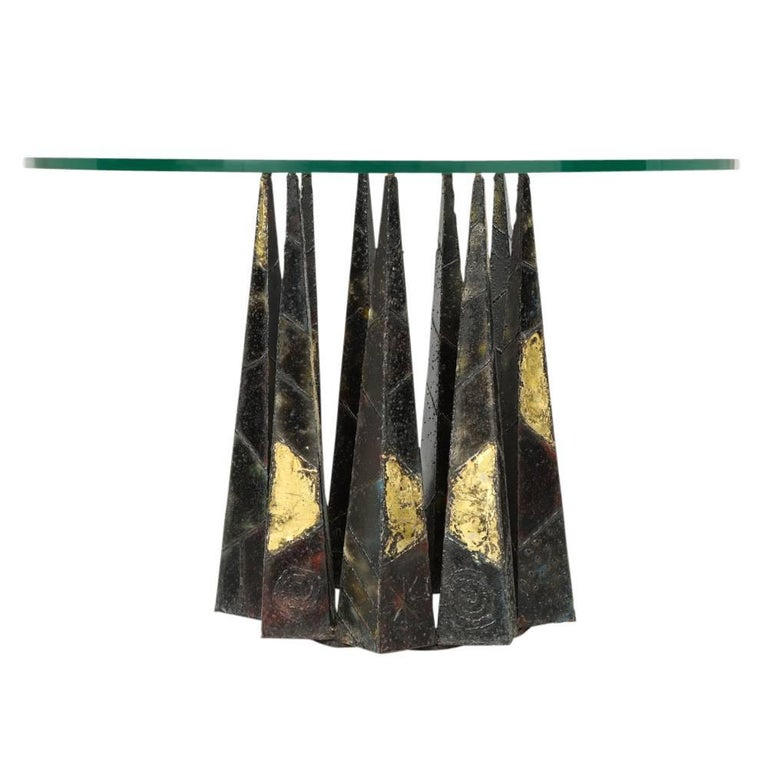Welded Paul Evans Dining Table Brass Steel Glass Crown of Thorns, USA, 1960s For Sale