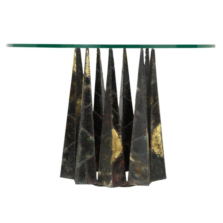 American Paul Evans Dining Table Brass Steel Glass Crown of Thorns, USA, 1960s For Sale