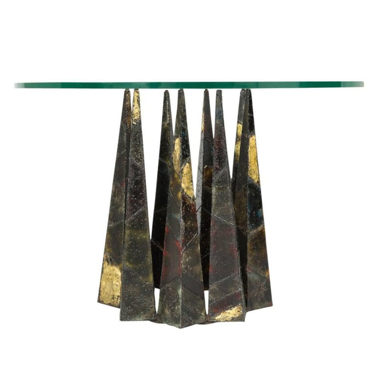 Paul Evans Dining Table Brass Steel Glass Crown of Thorns, USA, 1960s In Good Condition For Sale In New York, NY