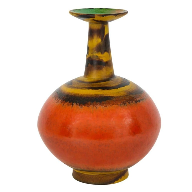 Raymor Bitossi Ceramic Vase Red Yellow Green Bagni Signed, Italy, 1960s